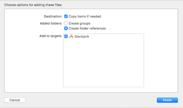 File options with Copy items if needed box checked