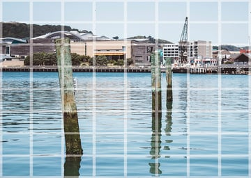 dividing the reference photo into a grid