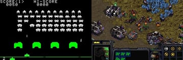 Space Invaders on the left Starcraft on the right The player is fighting an alien horde in both in Starcraft however they tend to fight back