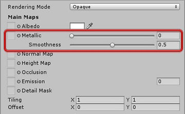 Unity Inspector panel - material properties