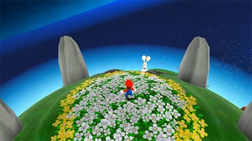 The opening view of the first planet in Super Mario Galaxy