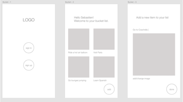 All three wireframes in Adobe XD