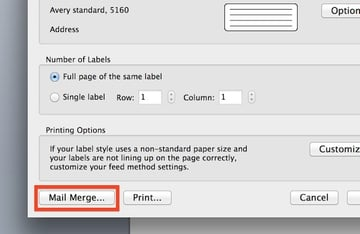 Selecting Mail Merge