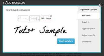 Selecting a saved signature