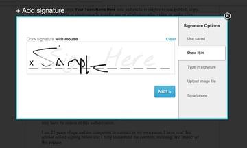Drawing a signature