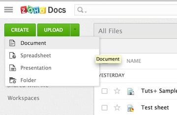 Creating a new document in Zoho Office