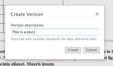 Creating a version of your document