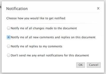 Modifying notification settings in Zoho Writer