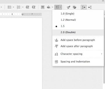 Changing line spacing in Zoho Writer