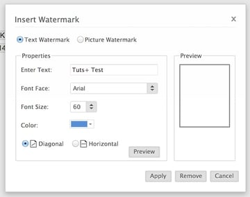 Text watermarks in Zoho Writer