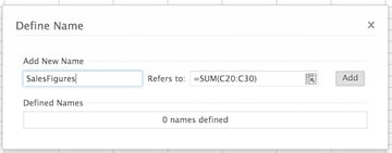 Defining the name of a formula in the Define Name window