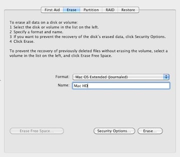 Formatting the Macs hard drive using Disk Utility