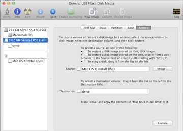 Restoring the Mac OS X install DVD to your USB drive