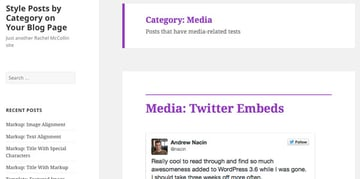 Media archive title and border in purple
