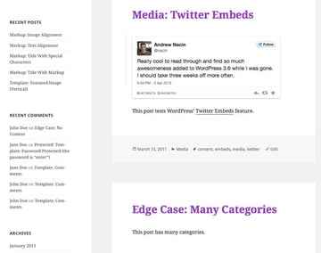 Media archive with purple post titles