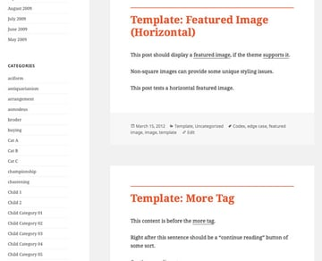 Template archive page with orange post titles and border