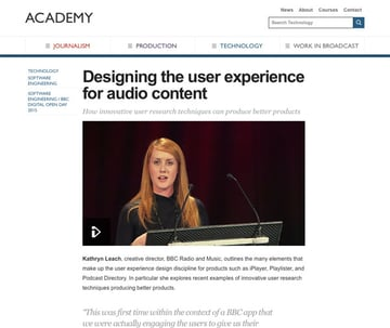 BBC Academy website - article Kathryn Leach creative director of BBC Radio and Music on UXby