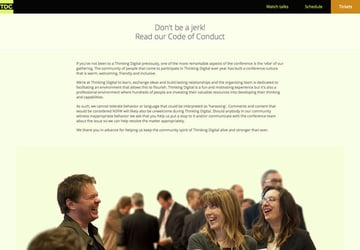 Thinking Digital conference code of conduct - dont be a jerk