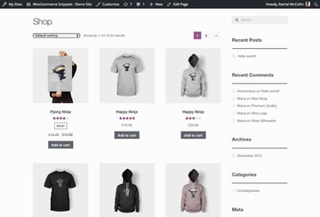 The site with the Storefront theme activated with no product short descriptions on the main shop archive page