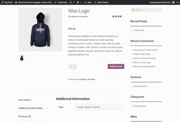 WooCommerce product page - default with product attributes tab