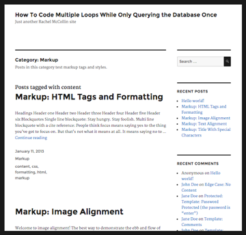 The category page with two loops