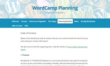 WordCamp code of conduct