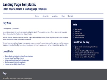 the landing page using a standard page template