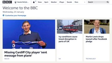 BBC home page - white background nav menu at the top separated by a thin border