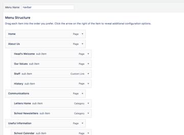a multi-level menu in the WordPress menus admin screen