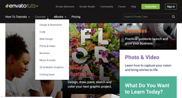 the envato tuts site uses a combination of mega menus and normal menus