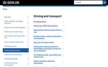 Subpages int he UK government site