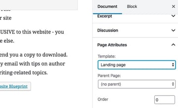 selecting a page template in the WordPress admin