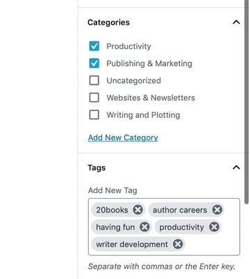 setting categories and tags