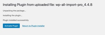 activating an uploaded plugin