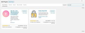 WordPress plugin installation screen