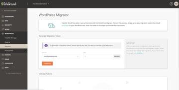 WordPress migrator screen in SiteGround