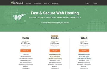 Siteground hosting plans