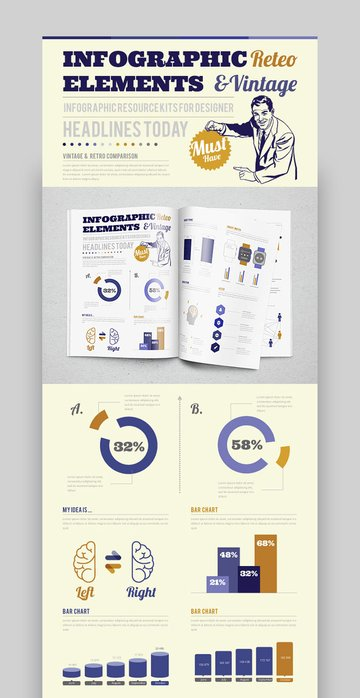 Vintage  Retro Style Infographic Template
