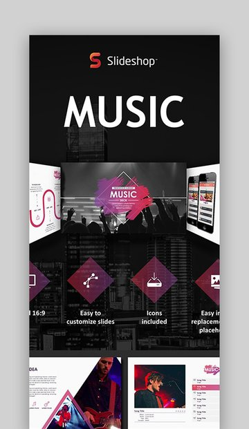 Music - PowerPoint Background Music Themed Template