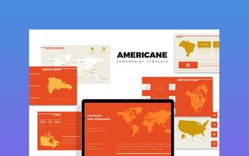 Americane  America Region Info Map Powerpoint