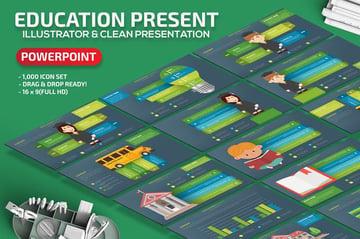 Education - Gray Green Board PowerPoint Template