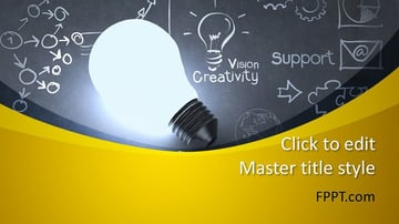 Light Bulb - Chalk Dust PowerPoint Presentation Template Free Download