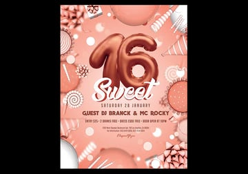 Sweet 16th - Happy Birthday Flyer PSD Free