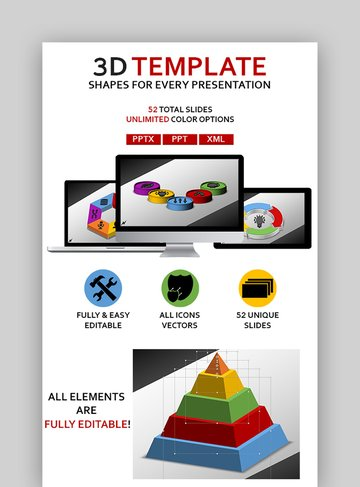 3D Shapes - Download Template PowerPoint 3D
