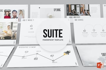 Suite - Microsoft PowerPoint Theme a premium template that uses infographics and focuses more on images