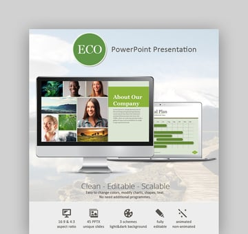 Eco PPT Template - Light Green PowerPoint Background