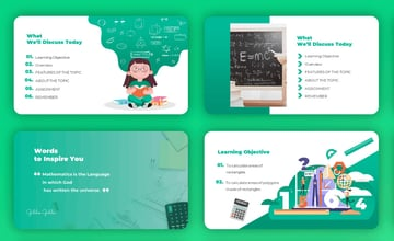 Math Lesson - PowerPoint Cartoon Template a premium clutter-free PPT template from Envato Elements