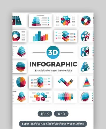 3D Infographics - List PowerPoint Slide Template