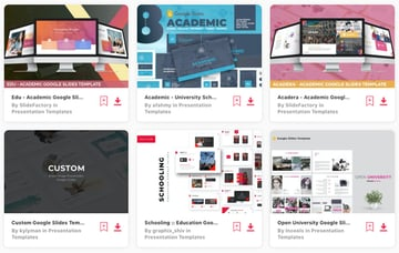 Selection of premium Google Slides poster templates on Envato Elements