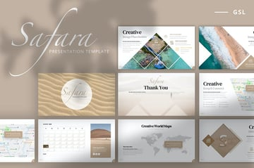 Safara Google Slides Template + 2020 Calendar, a modern template with custom masks